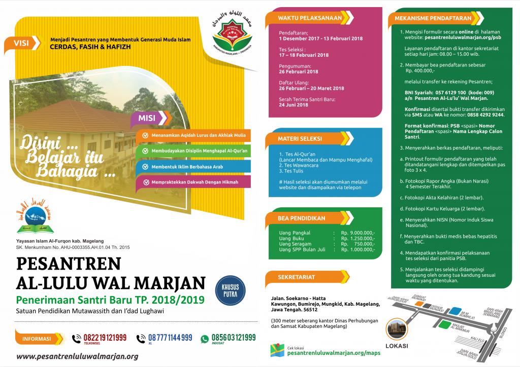 Brosur PSB Pesantren Al Lu lu Wal Marjan Magelang Tahun Pelajaran 2018/2019